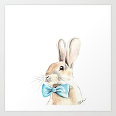 Bunny with a Blue Bow Tie. Watercolor Illustration. Art Print