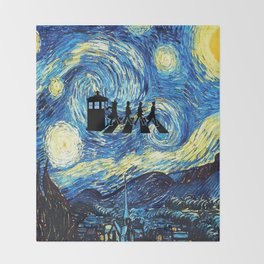The Doctors Walking Of Starry Night Throw Blanket