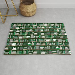Book Case Pattern - Green and Grey Rug