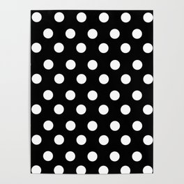 White Polka Dots on Black Poster