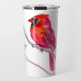 Watercolor of a Cardinal Travel Mug