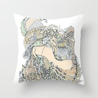 pony Throw Pillows featuring trick pony by Cassidy Rae Marietta