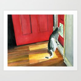 Quigley the Door Cat Art Print