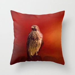 Hawk On A Hot Day Throw Pillow