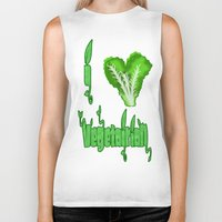 vegetarian Biker Tanks featuring i love vegetarian by Adiel Azrai