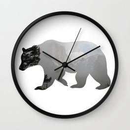 Grizzly Bear with Yosemite Photo Inlay Wall Clock