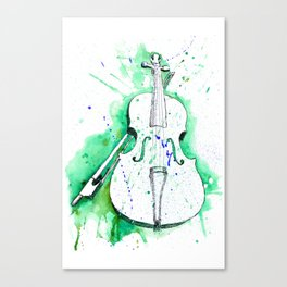 Water Color Violin (Teal) Canvas Print