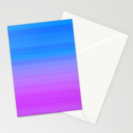 Blue Purple Gradient Stripes Stationery Cards