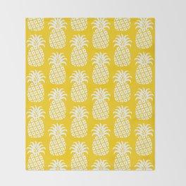 Mid Century Modern Pineapple Pattern Yellow Throw Blanket