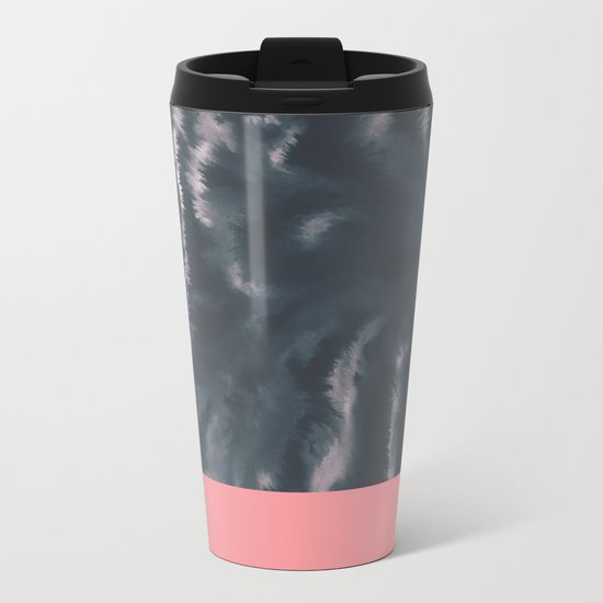 Faux Dye Pink Metal Travel Mug