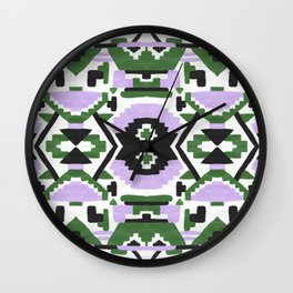 Geometric Aztec - Lilac and Forest Green Wall Clock