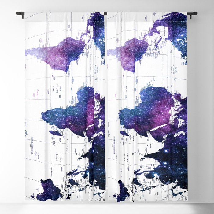 ALLOVER THE WORLD-Galaxy map Blackout Curtain