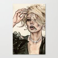 kate moss Canvas Prints featuring Kate Moss by vooce & kat