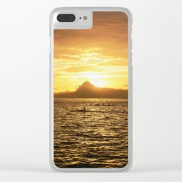 Tahiti Sunset with Kayakers over Water Clear iPhone Case
