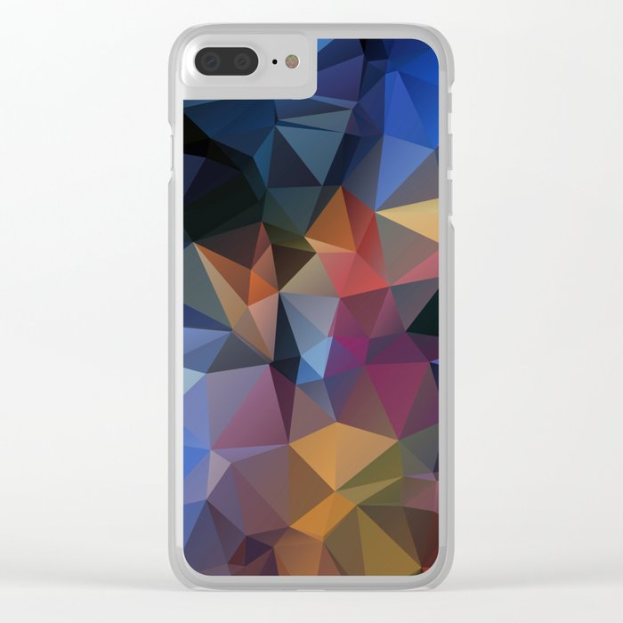 Polygon geometric abstract pattern in yellow blue and brown colors . Clear iPhone Case