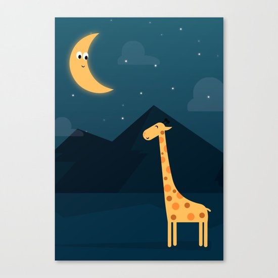 The Giraffe and the Moon Canvas Print