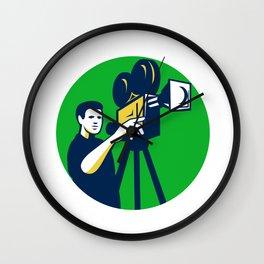 Movie Director Movie Film Camera Circle Retro Wall Clock