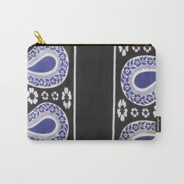 Black and Blue Tanzanian Fabric 3 Carry-All Pouch