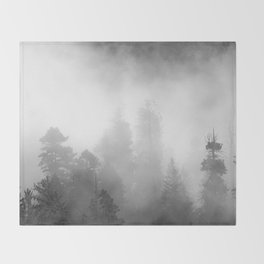 Harmony - Misty Mountain Forest Nature Photography Throw Blanket