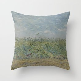 Wheatfield with Partridge Throw Pillow