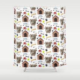American Pit Bull Dog Half Drop Repeat Pattern Shower Curtain