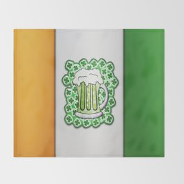 Irish Flag Green Beer and Shamrocks For St Patricks Day Throw Blanket