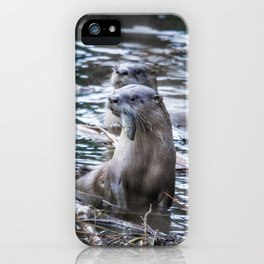 Otters Having Breakfast on the River iPhone Case