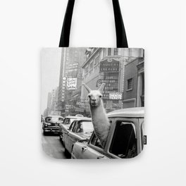 Llama Riding in Taxi, Black and White Vintage Print Tote Bag