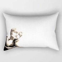 White Sculpture of Child Boy Rectangular Pillow