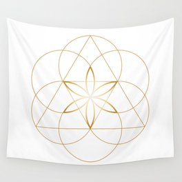 Modern Minimalist Sacred Geometry Symbol, Geometric Flower of Life in Gold and White Abstract Luxury Wall Tapestry
