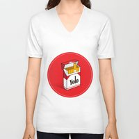cigarettes V-neck T-shirts featuring YOLO Cigarettes  by RJ Artworks