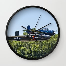 B-24 and Hellcat World War II Aircraft Fly Together at Mosby Missouri Wall Clock