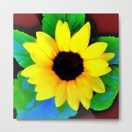 Sunflower Ilustration Yelow Green Blue Brown Summer Metal Print