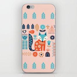 Soft And Sweet Scandinavian Fox Folk Art iPhone Skin