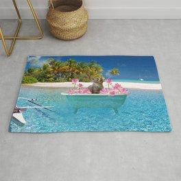 Grey Cat in Lotus Bathtub - Caribic Island Rug