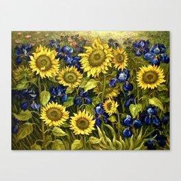 Sunflowers & Blue Irises by Vincent van Gogh Canvas Print