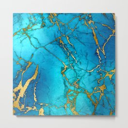 Gold And Teal Blue Indigo Malachite Marble  Metal Print