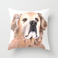 golden retriever Throw Pillows featuring Golden Retriever by LouiseDemasi