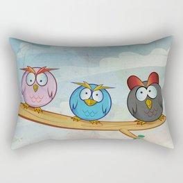 funny owl group cartoon on tree Rectangular Pillow