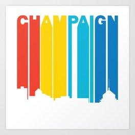 Retro 1970's Style Champaign Illinois Skyline Art Print