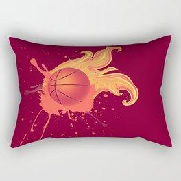 Grunge Flaming Basketball Rectangular Pillow