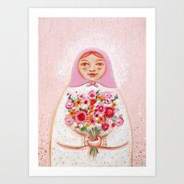 Matryoshka with flowers Art Print