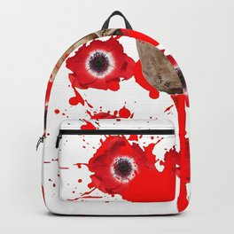 BLACK BLOODY RED EXPLODING BLOOD POPPIES SKULL ART Backpack
