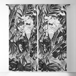 Bird of Paradise Hawaii Rainforest Black and White Blackout Curtain