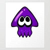 splatoon squid Purple  Art Print
