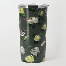 Vintage Floral Design on Gray Travel Mug