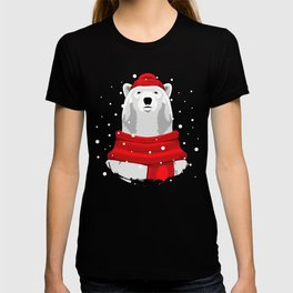 Polar bear in red hat and scarf T-shirt