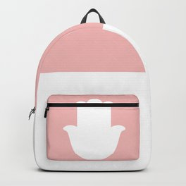White Hamsa Hand on Light Pink Background Backpack
