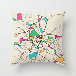 Colorful City Maps: Dresden, Germany Throw Pillow