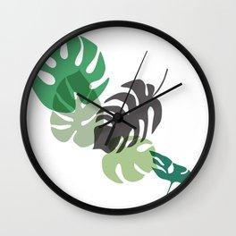 Monstera tropical leaves. Wall Clock